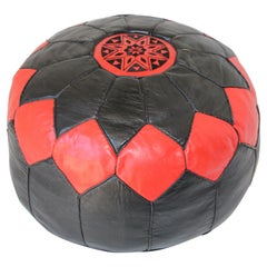 Moroccan Round Leather Pouf Hand-Tooled in Marrakesh Red and Black