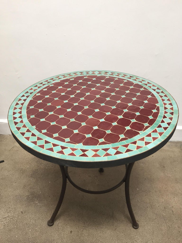 Moroccan Round Mosaic Tile Bistro Table Indoor Or Outdoor