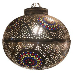 Moroccan Round Silver Pendant or Chandelier Handmade with Multi-Color Glass
