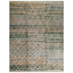 Moroccan Rug in Green, Blue and Turquoise Colors, Custom Options Available