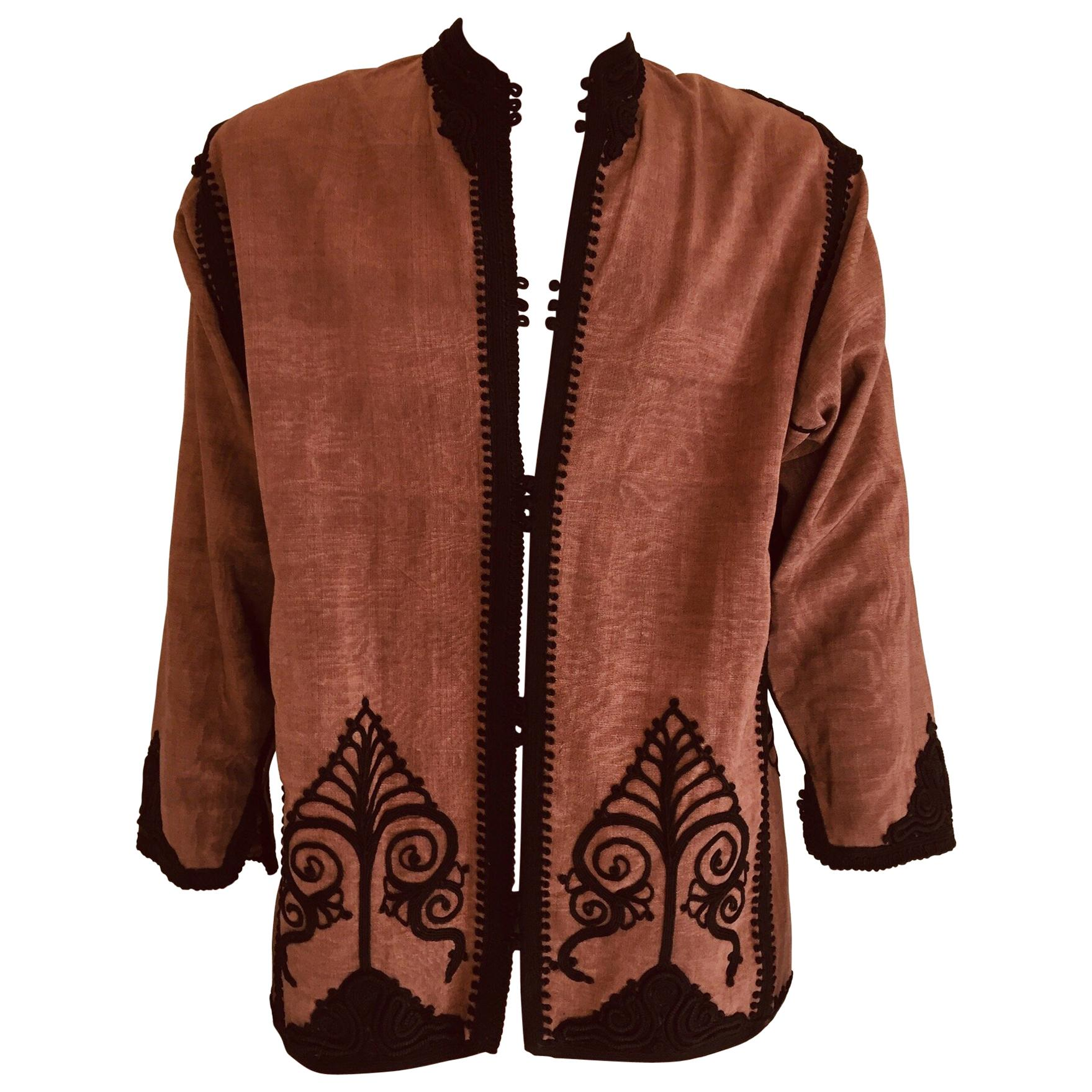 Moroccan Short Vest Brown and Black Embroideries Caftan