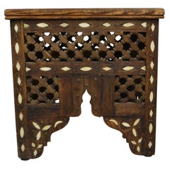 Moroccan Side Table with Bone Inlays