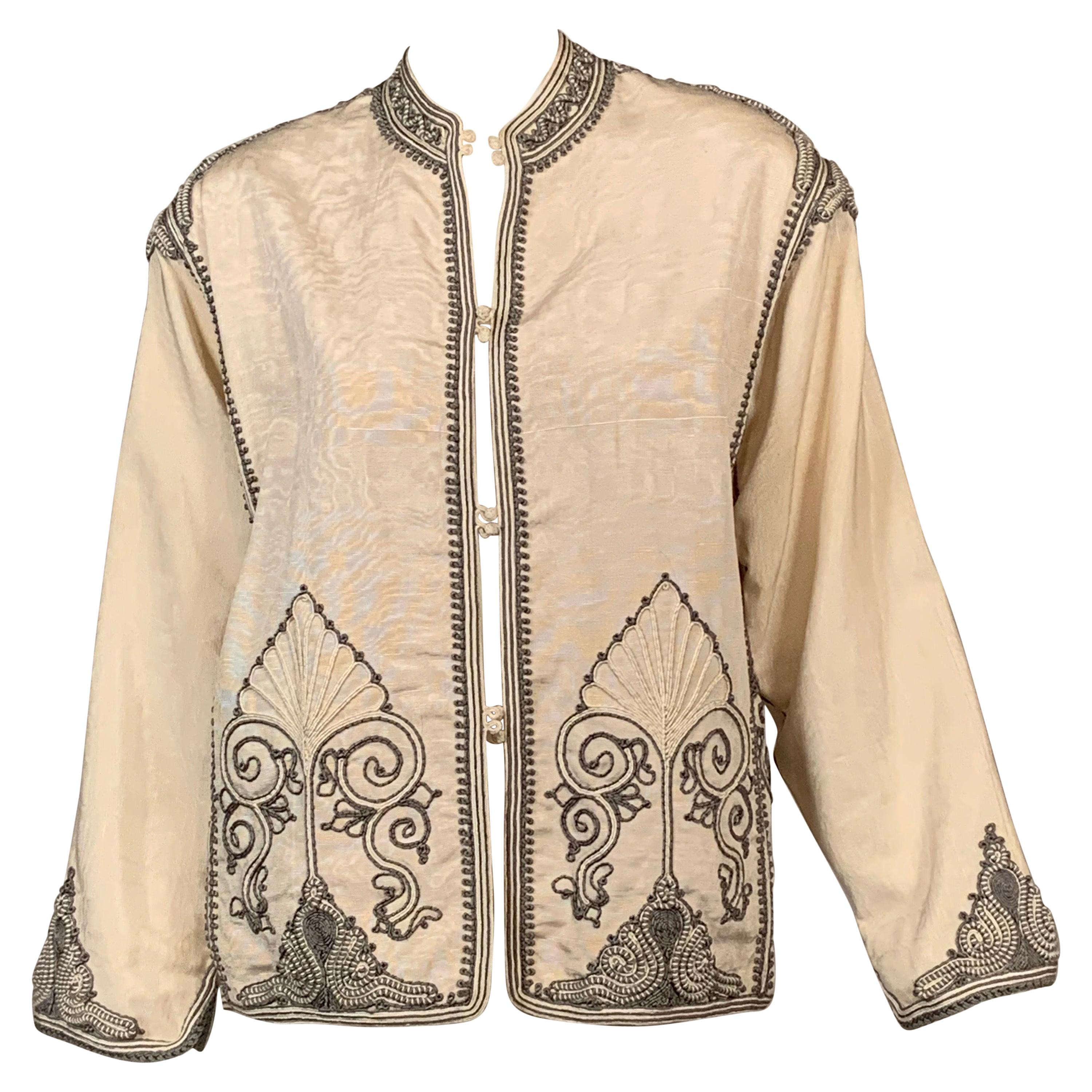 Moroccan Silk Jacket with Hand Sewn Charcoal Grey and Cream Soutache Braid Trim