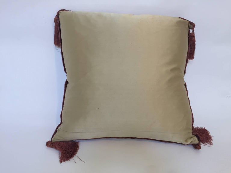 Moroccan Silk Velvet Applique Throw Decorative Pillow with Tassels Moroccan For Sale 4
