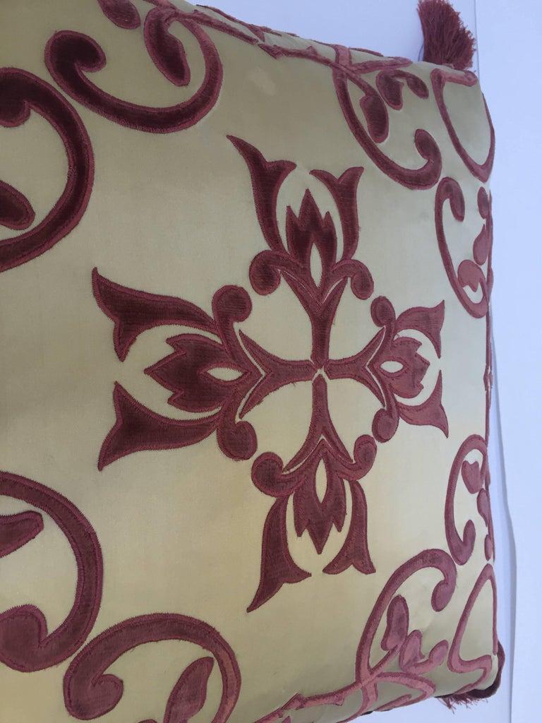 Moorish Moroccan Silk Velvet Applique Throw Decorative Pillow with Tassels Moroccan For Sale