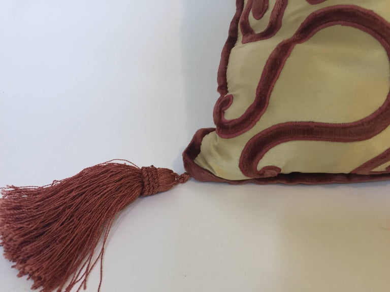 Moroccan Silk Velvet Applique Throw Decorative Pillow with Tassels Moroccan For Sale 1
