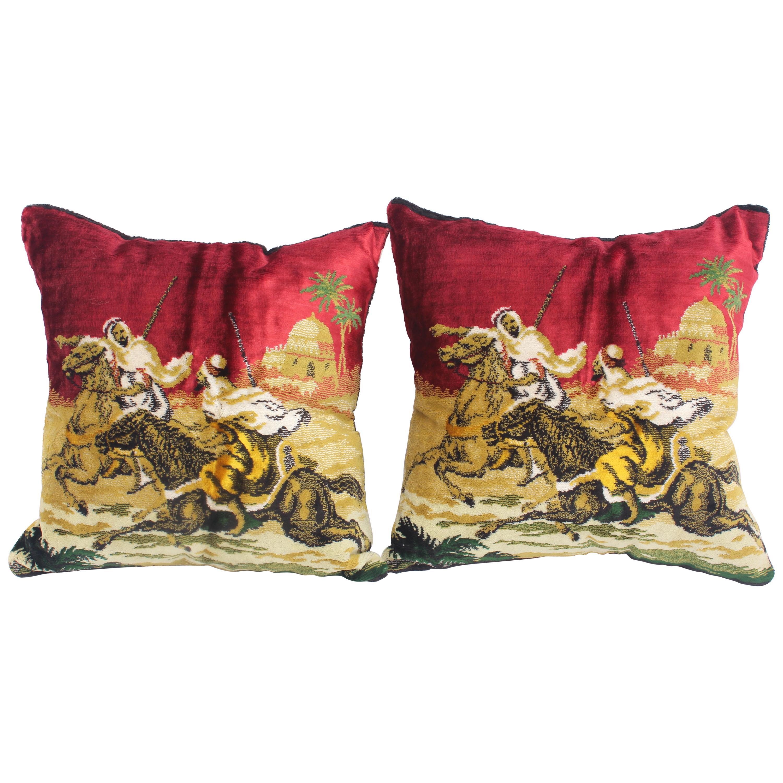 Moorish Silk Velvet Pillows with Arabs on Horse, a Pair