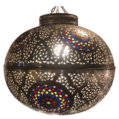 Moroccan Silver Handmade Moorish Pendant or Chandelier with Multi-Color Glass