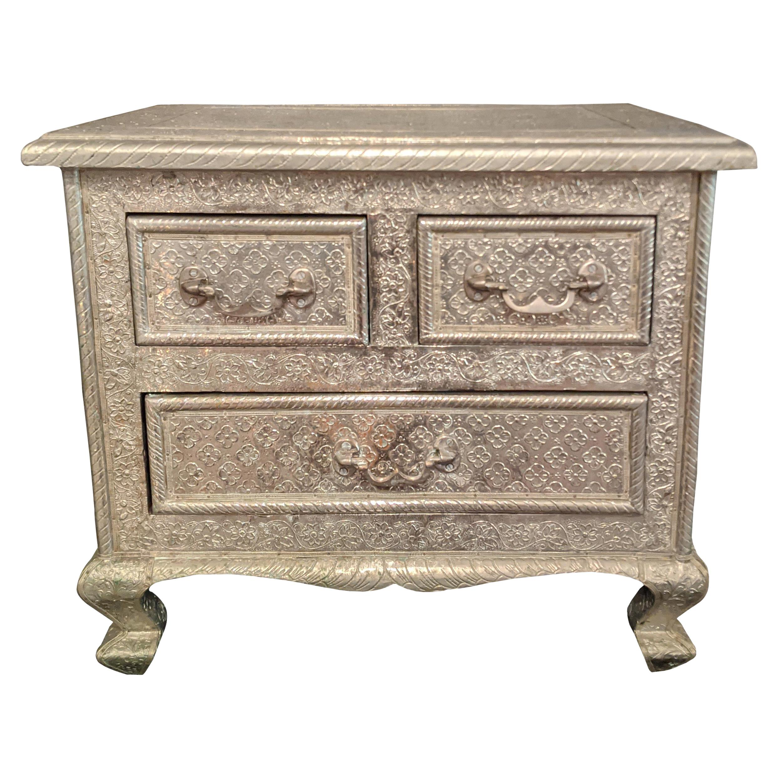 Moroccan Silver Metal Embossed 3 Drawer Chest Nightstand Side Table, French