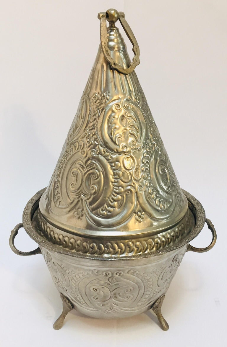 Moroccan Silver Repousse Plated Serving Dish Tajine with Cover For Sale 4