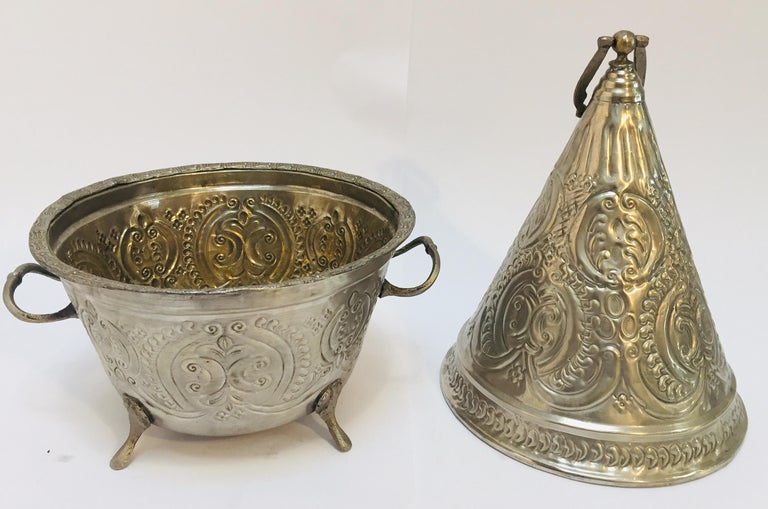 Moroccan Silver Repousse Plated Serving Dish Tajine with Cover For Sale 5