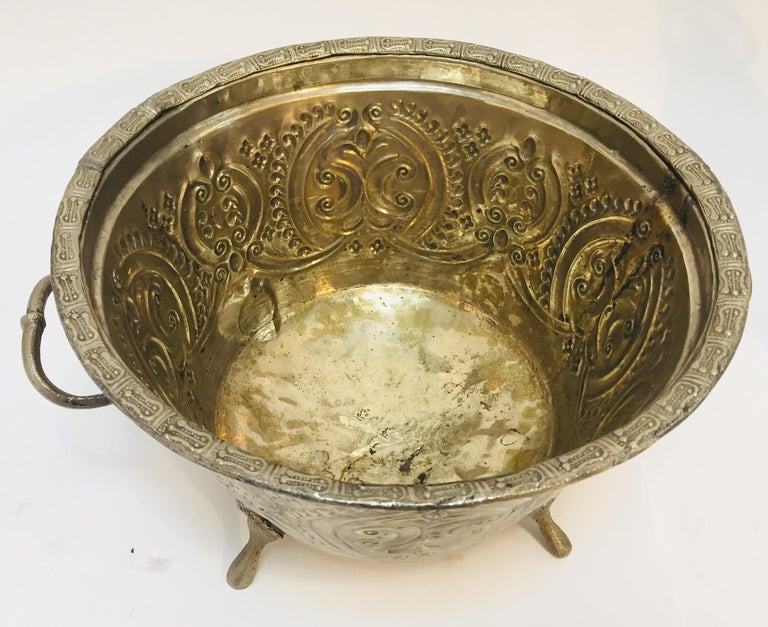 Moroccan Silver Repousse Plated Serving Dish Tajine with Cover For Sale 7