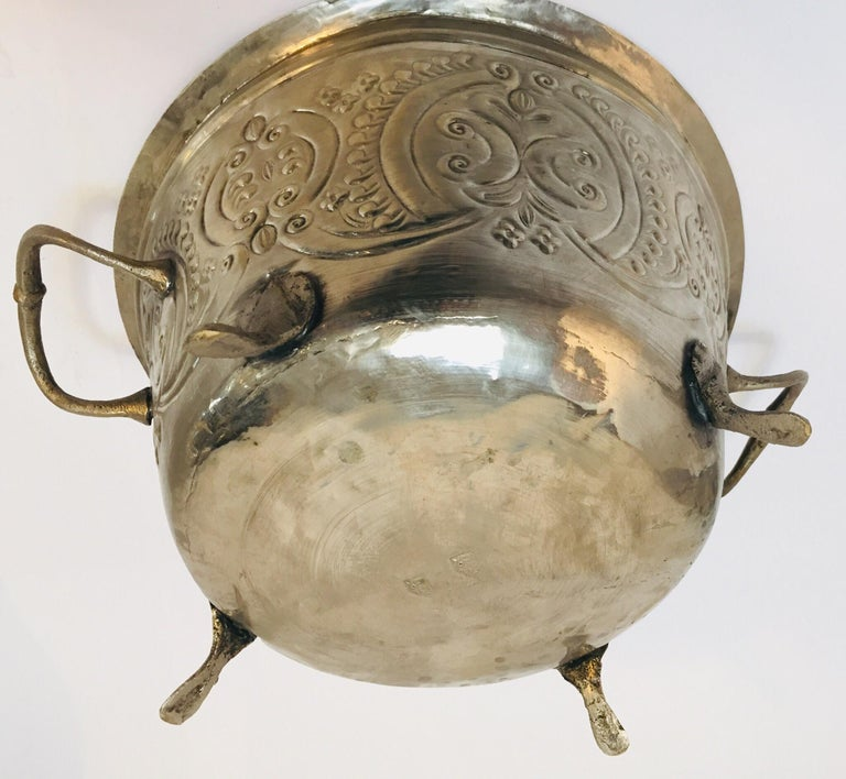 Moroccan Silver Repousse Plated Serving Dish Tajine with Cover For Sale 10