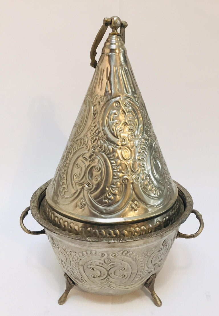 Hand-Carved Moroccan Silver Repousse Plated Serving Dish Tajine with Cover For Sale
