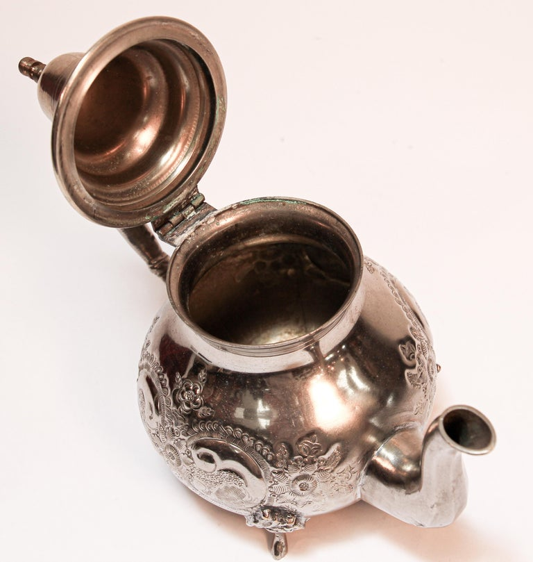 Moroccan Silver Plated Tea Pot For Sale 3