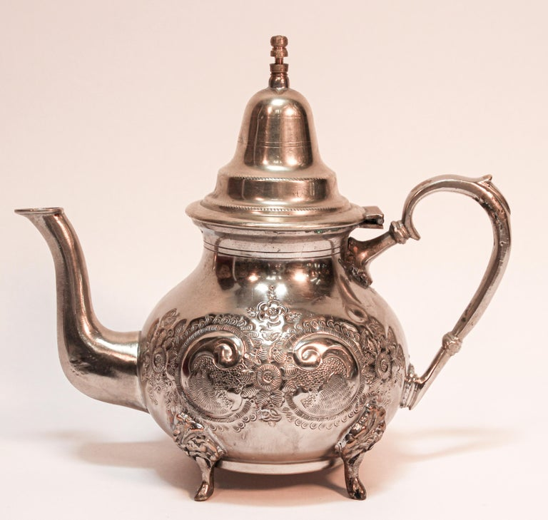 Moroccan Silver Plated Tea Pot For Sale 6