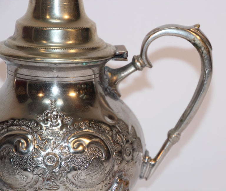 Moorish Moroccan Silver Plated Tea Pot For Sale