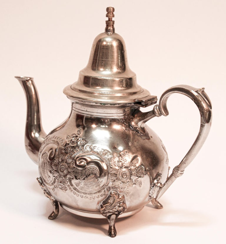 Hammered Moroccan Silver Plated Tea Pot For Sale