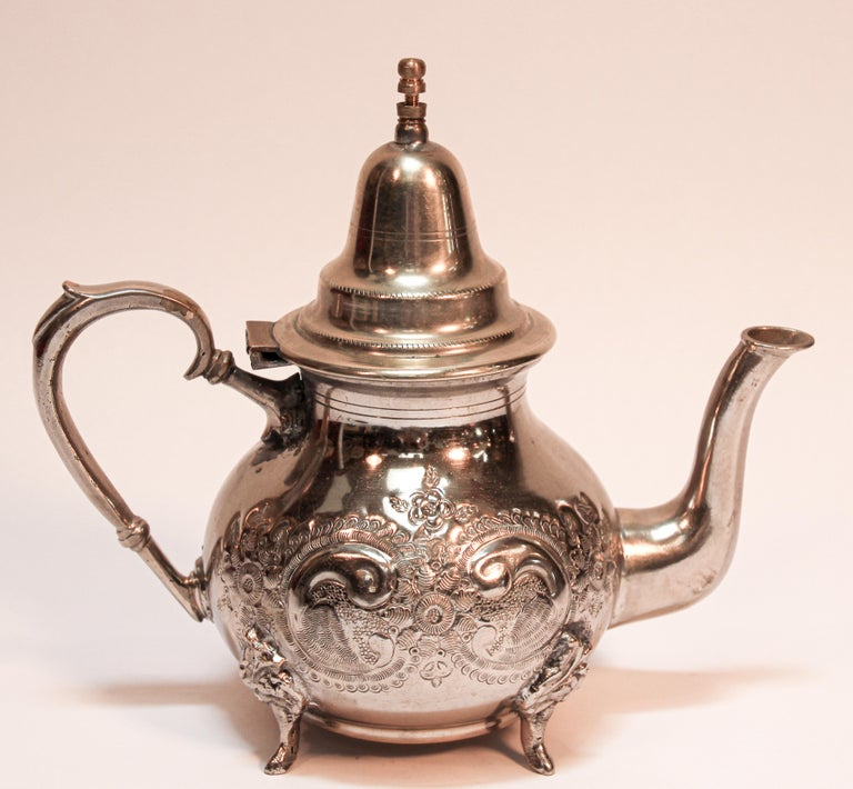20th Century Moroccan Silver Plated Tea Pot For Sale