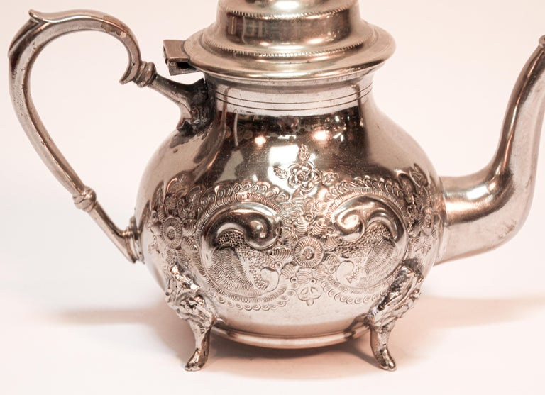Metal Moroccan Silver Plated Tea Pot For Sale