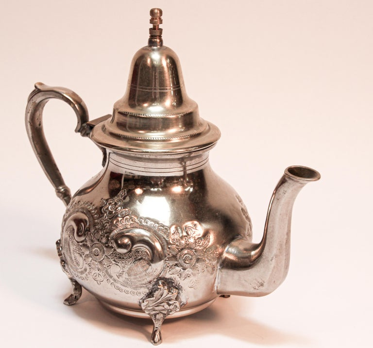 Moroccan Silver Plated Tea Pot For Sale 1