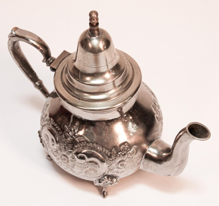 Moroccan Silver Plated Tea Pot For Sale 2