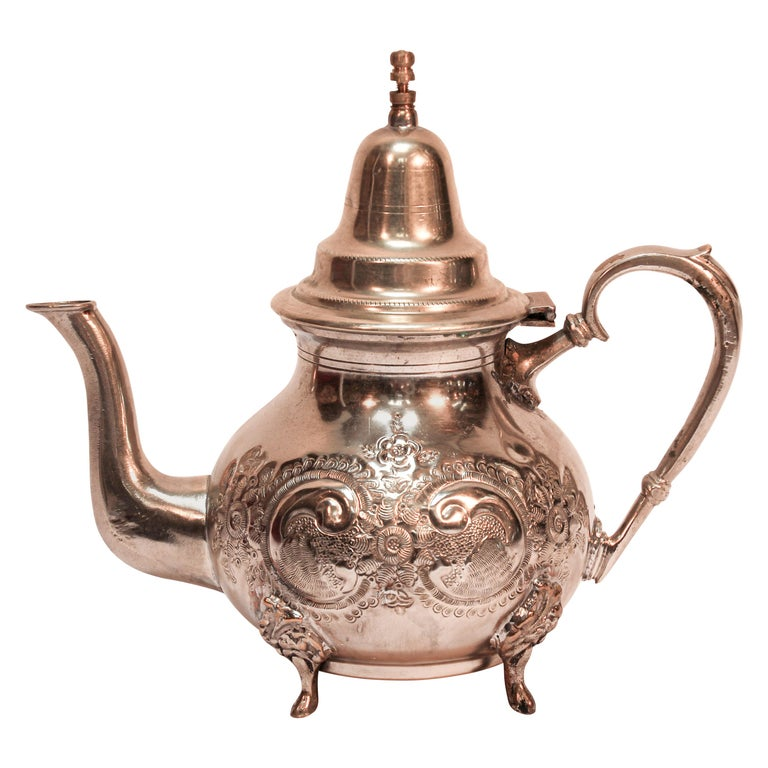 Moroccan Silver Plated Tea Pot For Sale