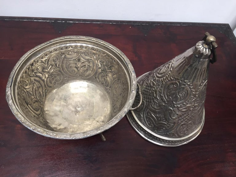 Moroccan Silver Repousse Decorative Dish Tajine with Cover For Sale 3
