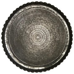 Moroccan Silvered Copper Charger with Incised Decoration, Large Scale
