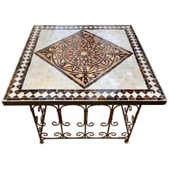 Moroccan Square Mosaic Tile Coffee table on Iron Base, Brown and Grey