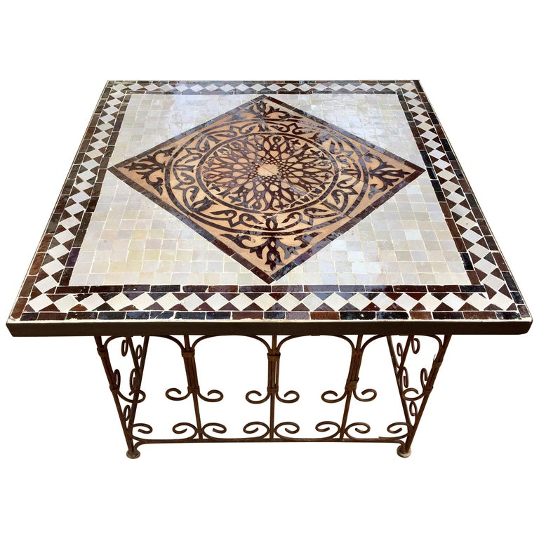 Moroccan Square Mosaic Tile Coffee Table On Iron Base