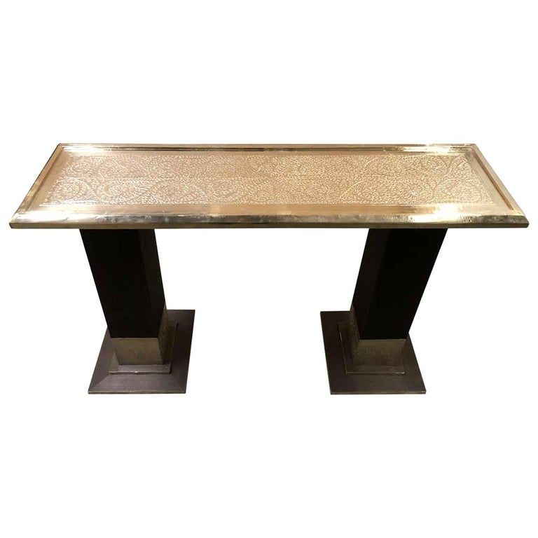 Moroccan Style Hammered Console Table For Sale