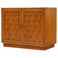 Moroccan Style Heritage Furniture Pecan Commode Cabinet, circa 1960s