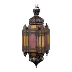 Moroccan Style Lantern with Colored Glass and 3-Light Candle Spread, circa 1910