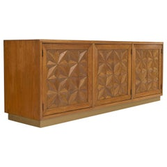 Moroccan Style Pecan Diamond Front Hollywood Regency Henredon Credenza Sideboard