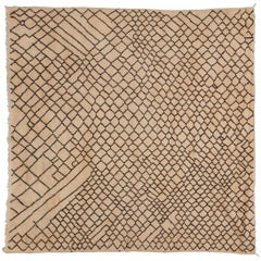 Moroccan Taznakht Rug - Neutral, Cream, Brown, Square