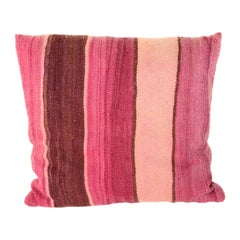 Moroccan Lumbar Pillow Cut from a Vintage Tribal Stripes Rug