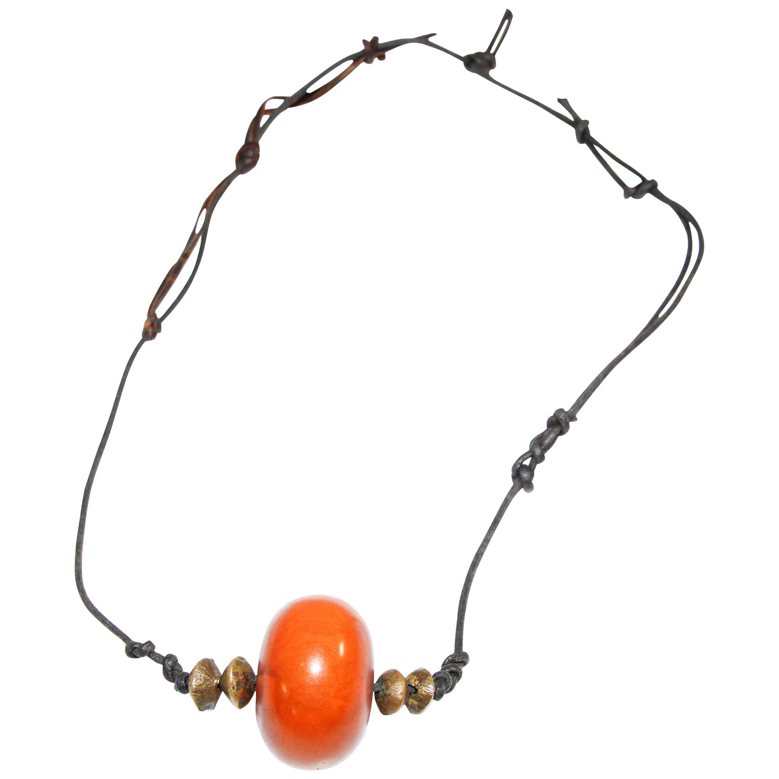 Moroccan Tribal Necklace with One Large Amber Resin Bead