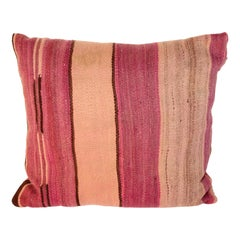Moroccan Tribal Lumbar Pillow Cut from a Vintage Beber Stripes Rug