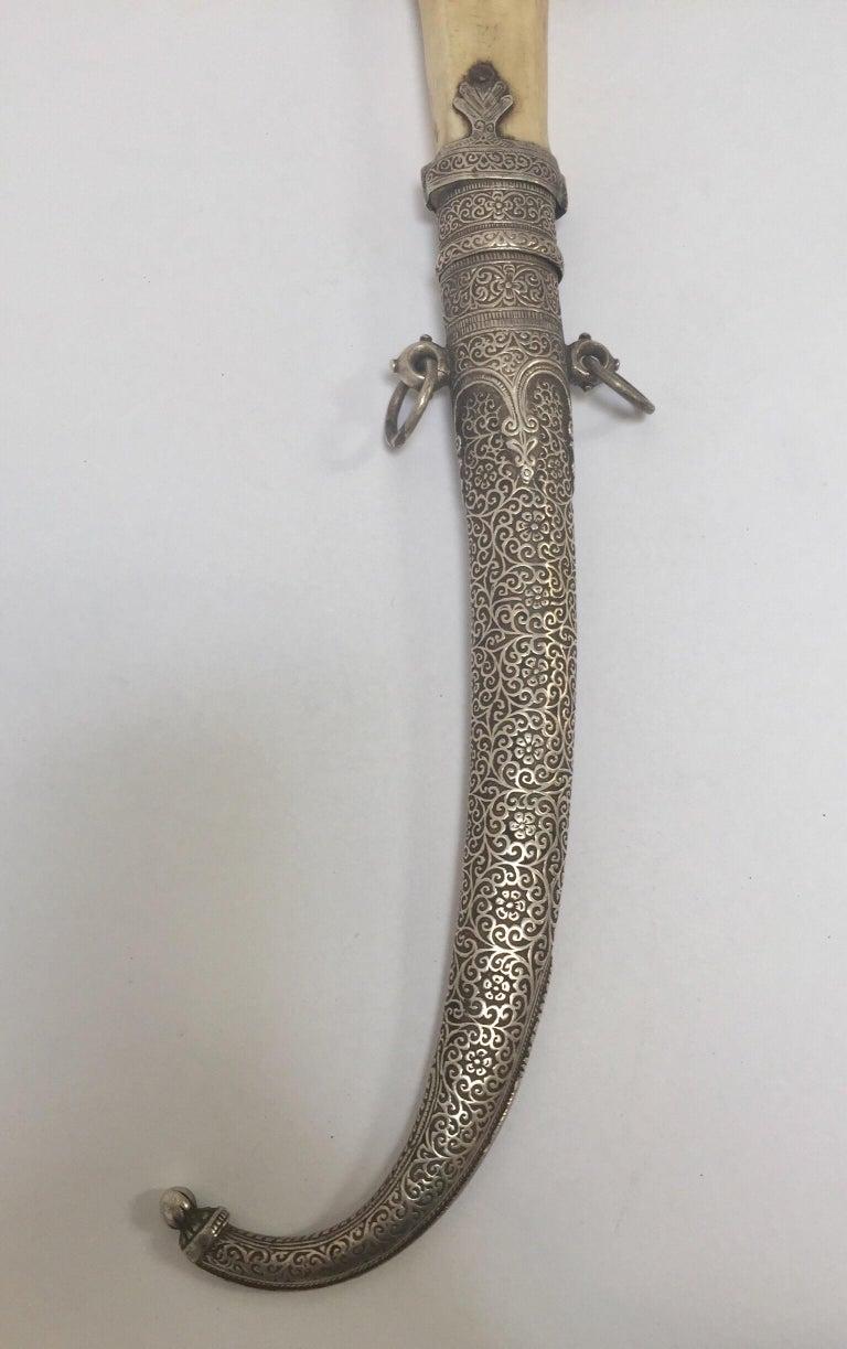 Moroccan Tribal Sterling Silver Khoumya Dagger For Sale 5