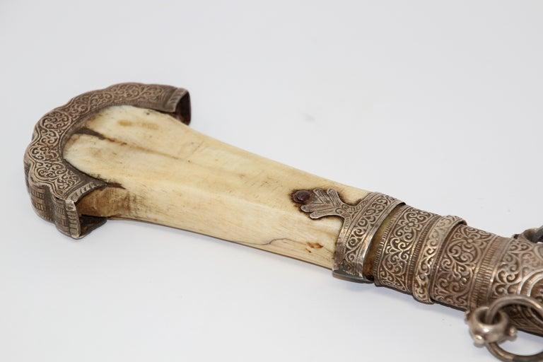 Moroccan Tribal Sterling Silver Khoumya Dagger For Sale 8