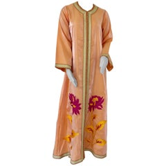 Moroccan Vintage Caftan 1970s Kaftan Maxi Dress Orange with Floral Embroideries
