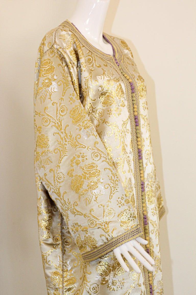 Moroccan Vintage Caftan in Gold Metallic Brocade, Maxi Gown Dress Kaftan For Sale 4