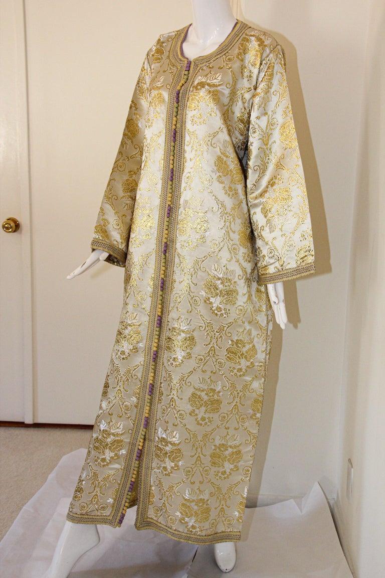 Moroccan Vintage Caftan in Gold Metallic Brocade, Maxi Gown Dress Kaftan For Sale 5