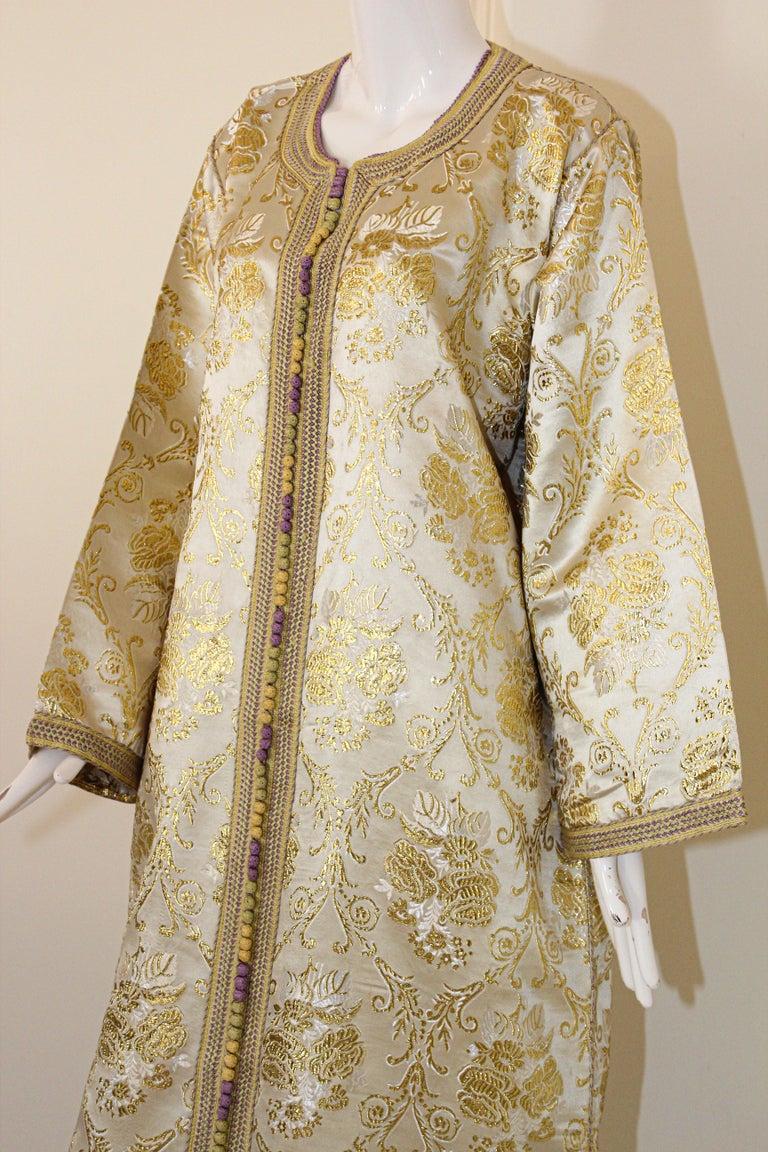 Moroccan Vintage Caftan in Gold Metallic Brocade, Maxi Gown Dress Kaftan For Sale 6