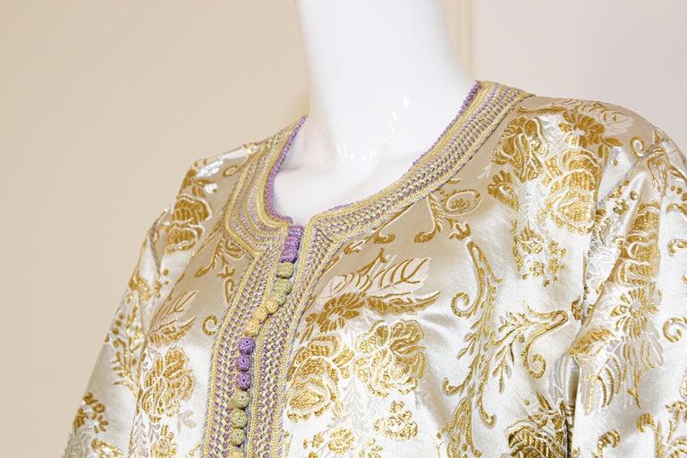 Moroccan Vintage Caftan in Gold Metallic Brocade, Maxi Gown Dress Kaftan For Sale 7