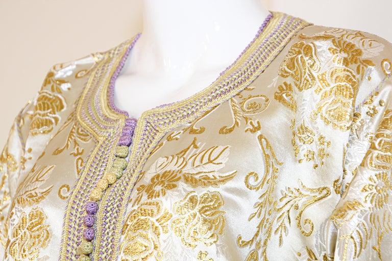 Moroccan Vintage Caftan in Gold Metallic Brocade, Maxi Gown Dress Kaftan For Sale 8