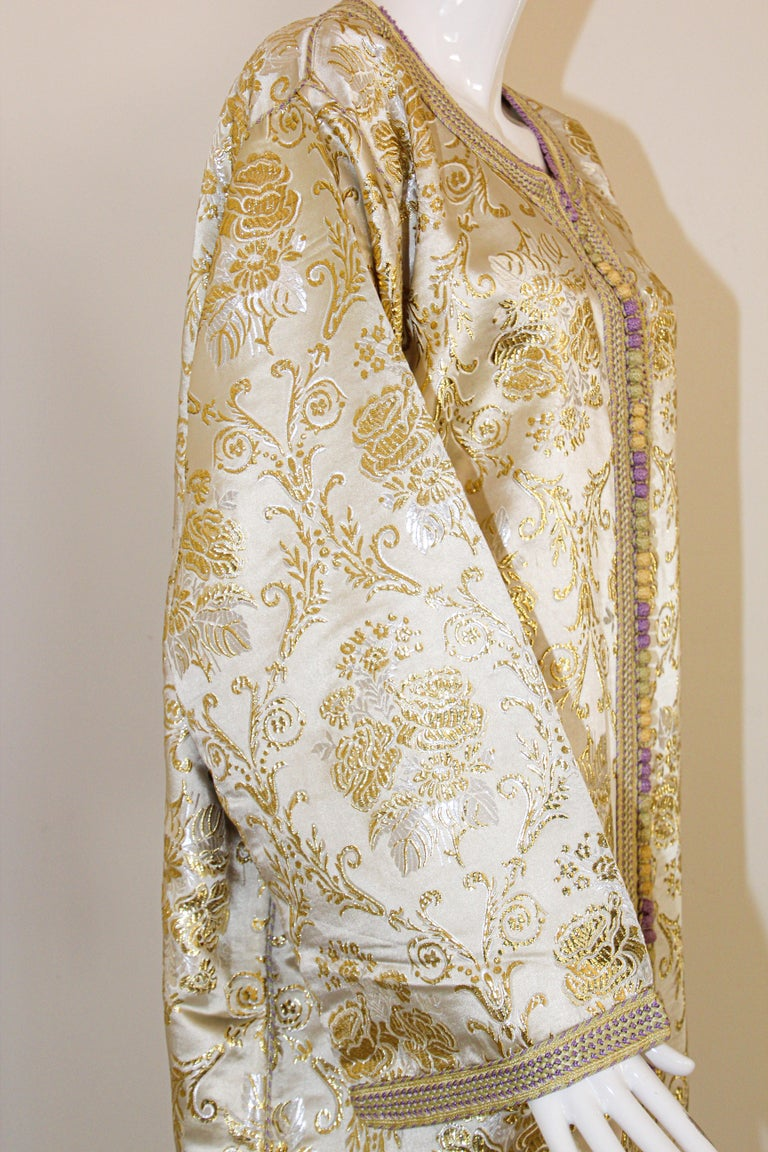 Moroccan Vintage Caftan in Gold Metallic Brocade, Maxi Gown Dress Kaftan For Sale 9