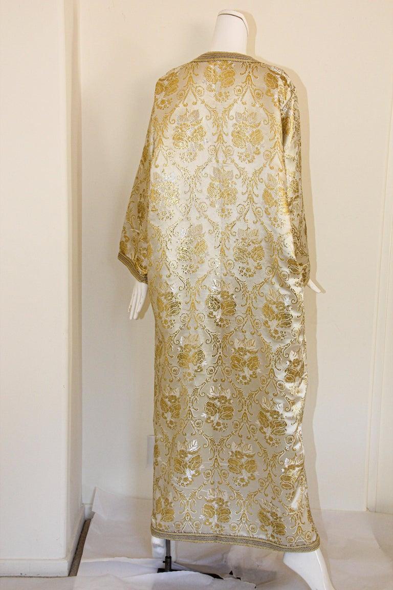 Moroccan Vintage Caftan in Gold Metallic Brocade, Maxi Gown Dress Kaftan For Sale 10