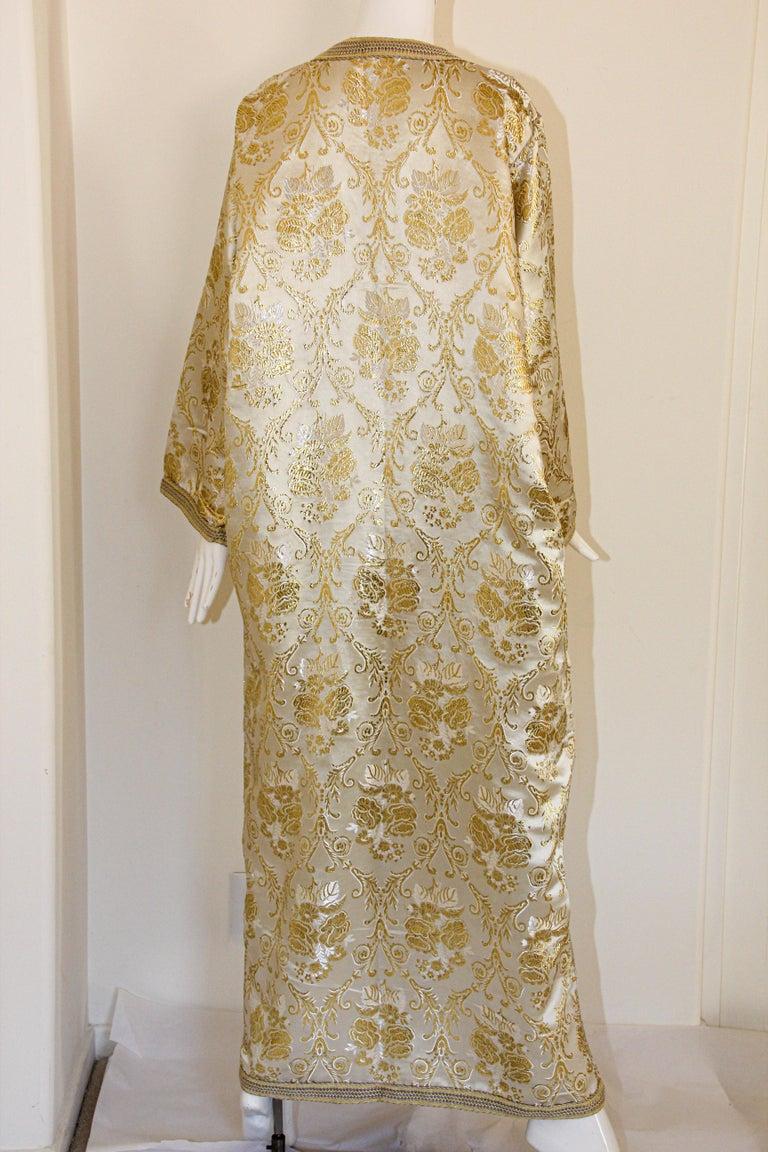 Moroccan Vintage Caftan in Gold Metallic Brocade, Maxi Gown Dress Kaftan For Sale 11